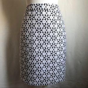 Lord & Taylor Floral Geometric Pencil Skirt